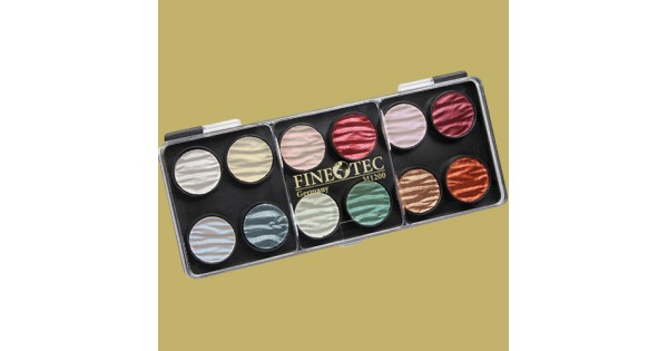 Finetec Watercolor Pan Set With 12 Pearlescent Colors